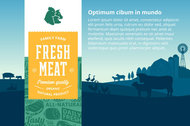 Vector meat illustration Vector meat illustration with rural landscape and farm animals. Modern style butchery label. Butcher's shop pattern and design elements. farm animals stock illustrations