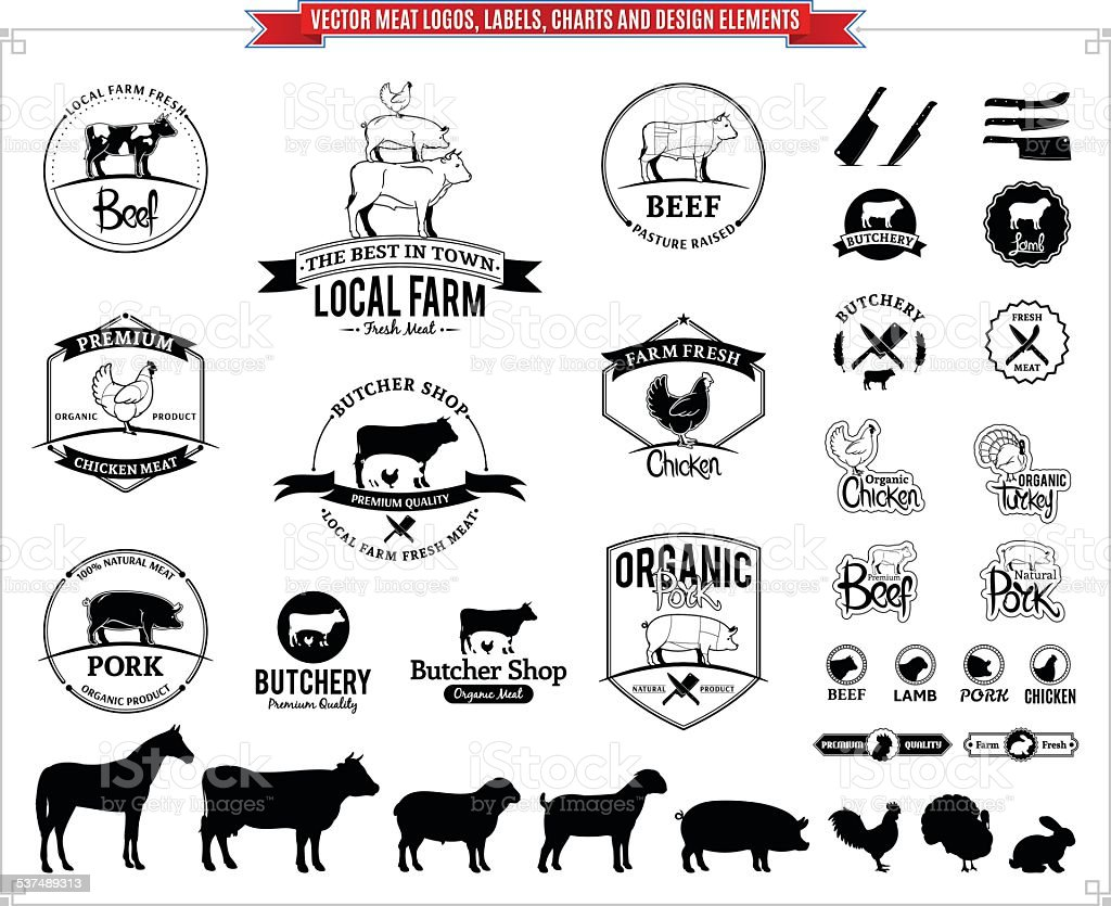 Vector meat logos, labels, charts and design elements vector art illustration