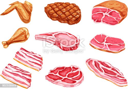 istock Vector meat products watercolor paint icons 932538906