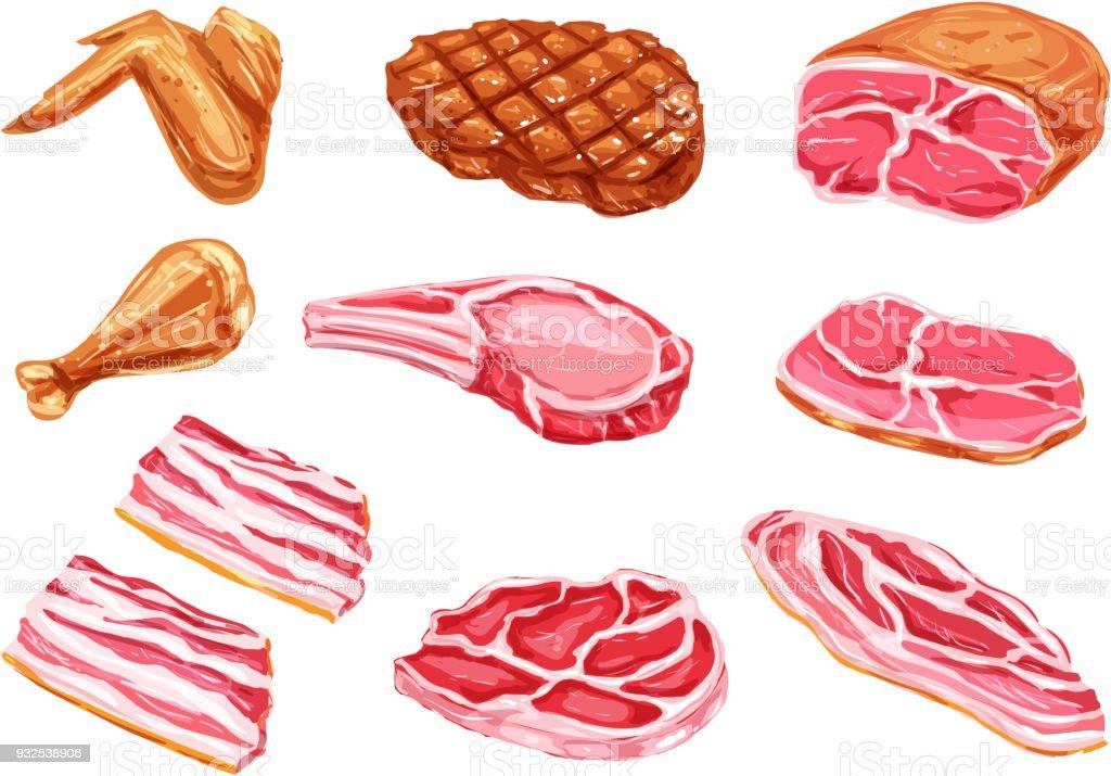 Vector carne produtos tinta aquarela ícones - ilustração de arte em vetor