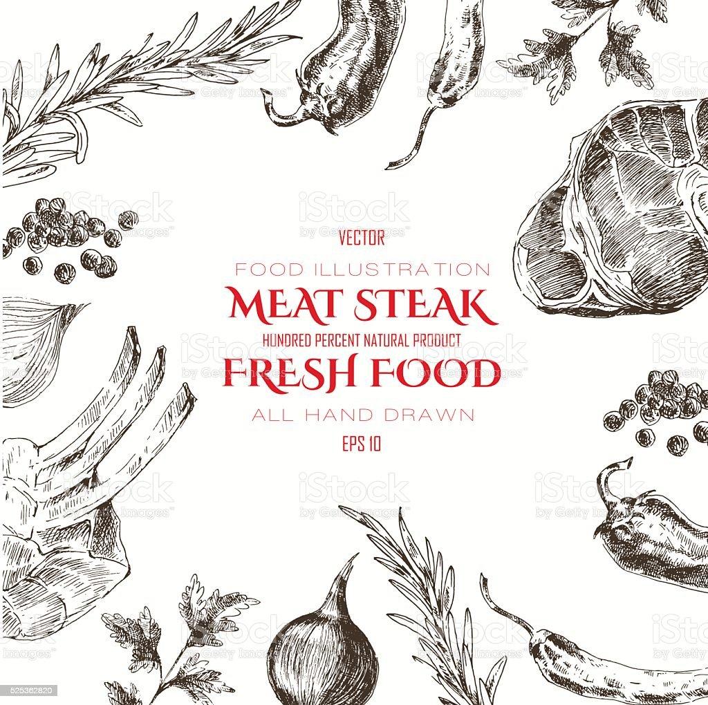 Filé de carne em vetor design modelo. comida esboço de desenho à mão - ilustração de arte em vetor