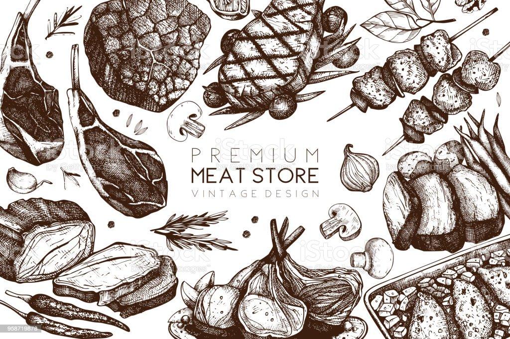 Diseño vectorial de la tienda de la carne - ilustración de arte vectorial