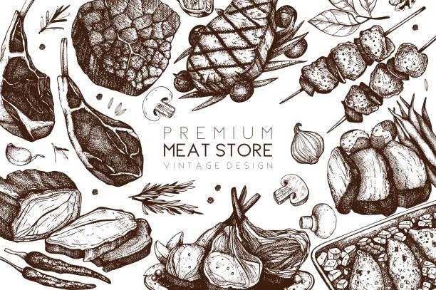 ilustraciones, imágenes clip art, dibujos animados e iconos de stock de diseño vectorial de la tienda de la carne - comida cruda