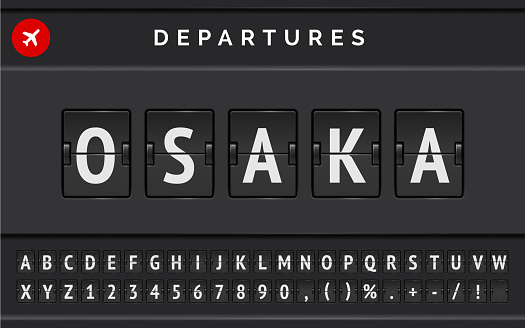 Vector mechanical airport flip board font with flight info of destination in Japan Osaka