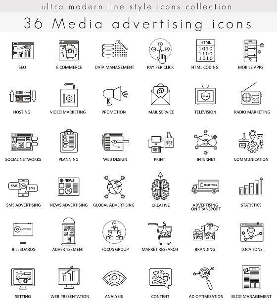 Vector Media advertising ultra modern outline line icons for web vector art illustration