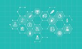vector medical and health icons and business network background