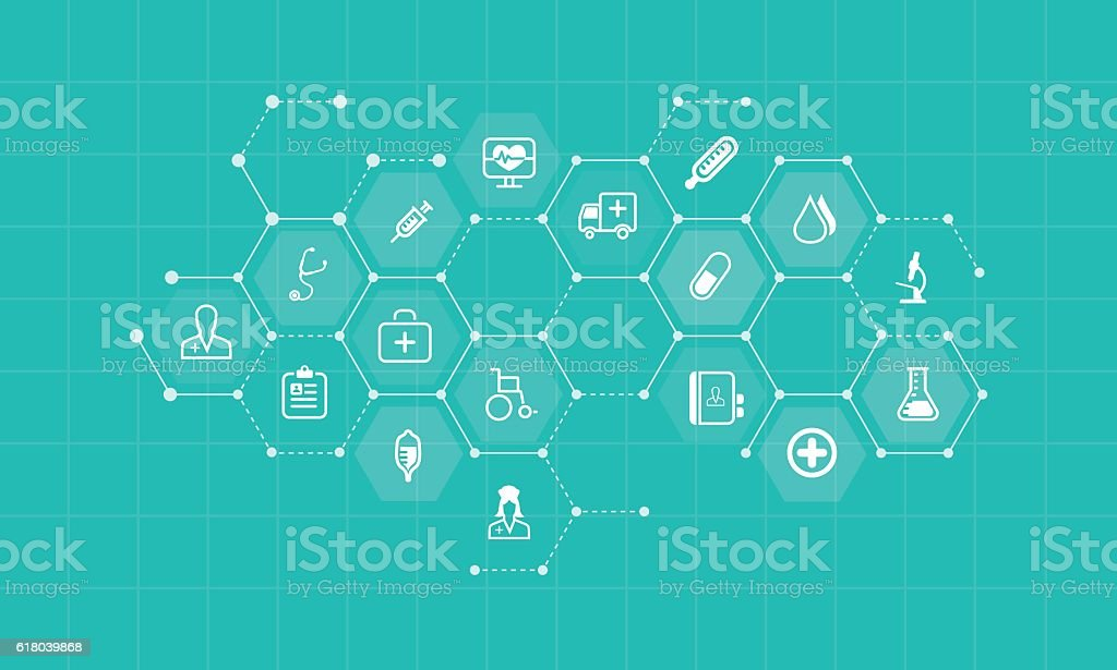 vector medical and health icons and business network background - ilustración de arte vectorial
