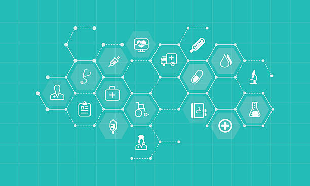 vector medical and health icons and business network background - Illustration vectorielle