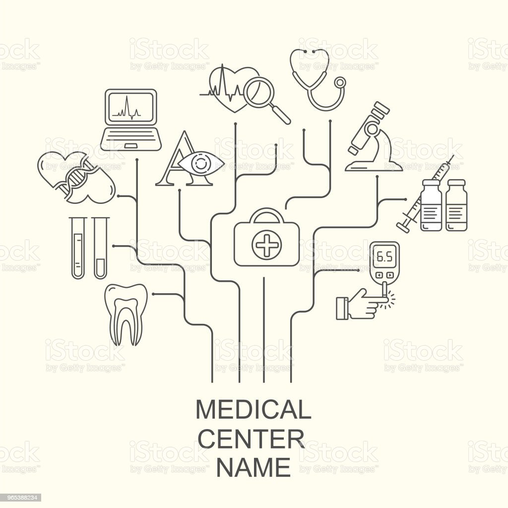 Vector Medical center logo concept with modern linear icons. Medicine and health background with line style symbols. vector medical center logo concept with modern linear icons medicine and health background with line style symbols - stockowe grafiki wektorowe i więcej obrazów ambulans royalty-free