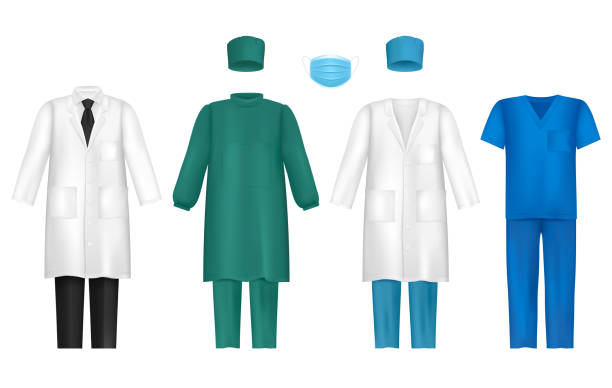 Vector medical clothes for healthcare professionals set Vector set of medical uniforms for all healthcare professionals. Doctors gown or lab coat, nursing uniform, medical scrub and hat, surgical mask isolated on white background. surgical cap stock illustrations