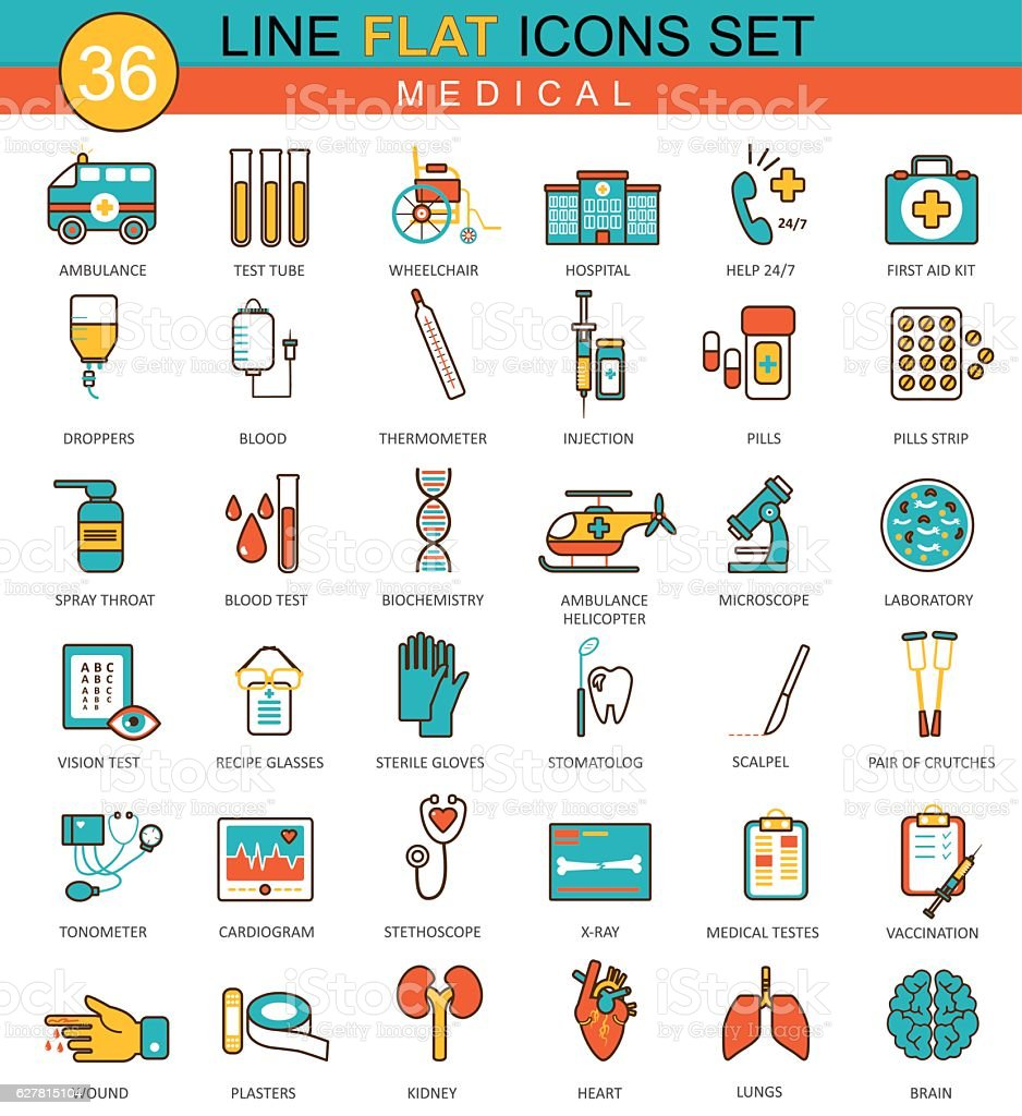 Vector Medical Medicine flat line icon set. Modern elegant style vector art illustration