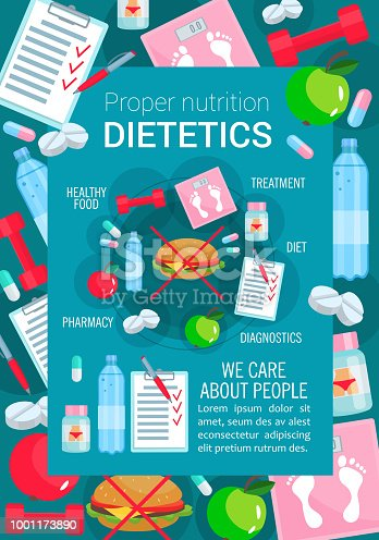 Dietetics and proper nutrition poster for healthy food and diet. Vector apple fruit and low fat meal or no hamburger prescription, fitness sport and dietary medical items for weight loss