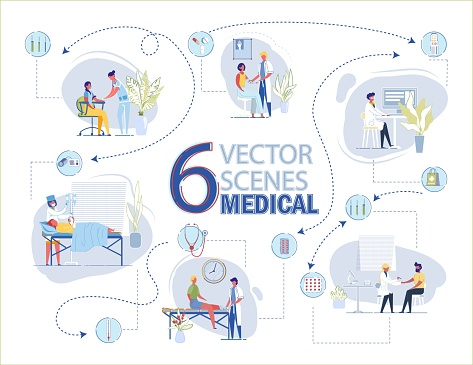 Vector Medical Scene with Doctor Nurse and Patient