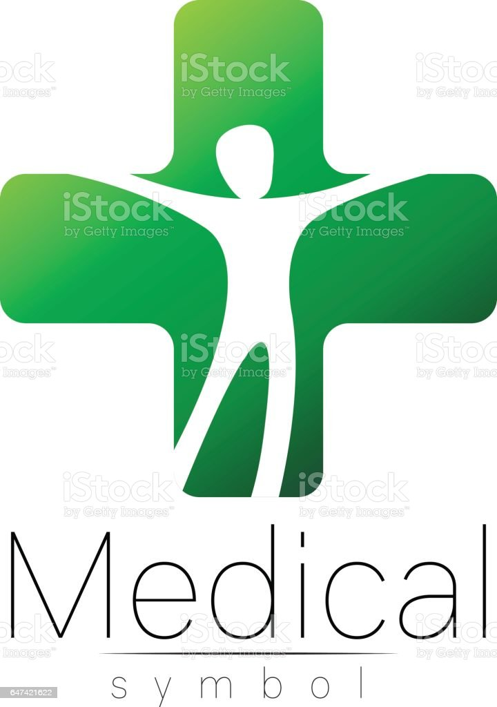 Vector Medical Sign With Cross Human Inside Symbol For Doctors