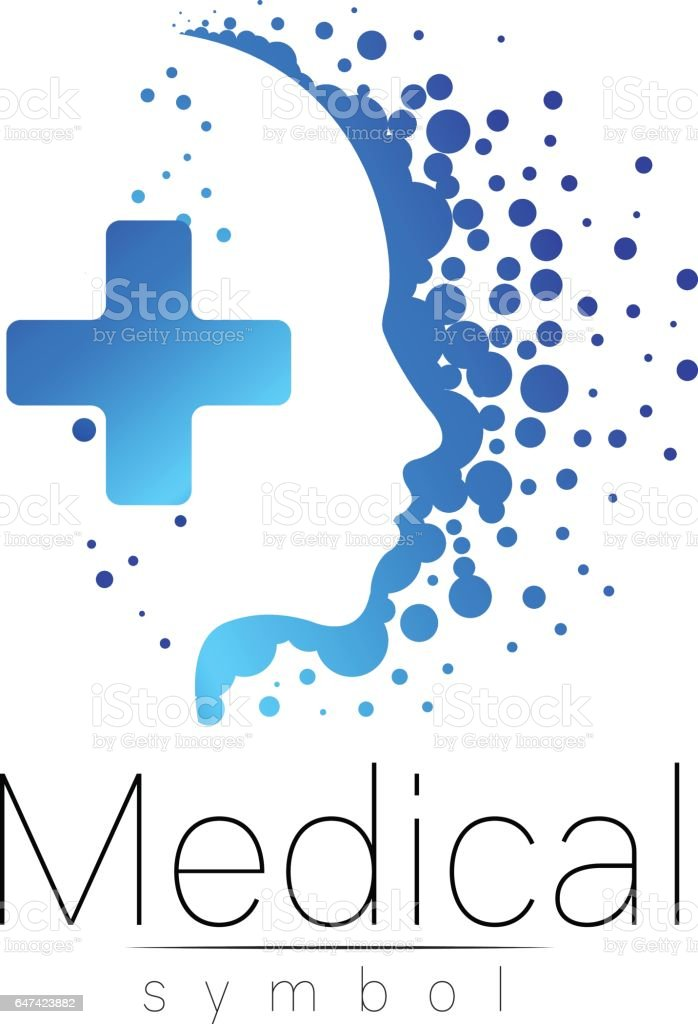Vector Medical Sign With Cross Inside Human Profile Symbol For
