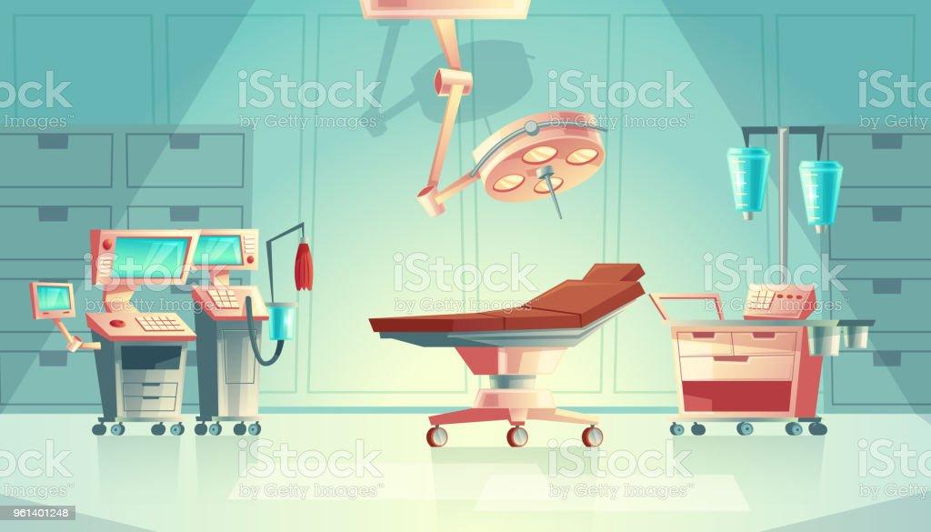 Vector medical surgery concept, cartoon hospital equipment vector art illustration