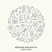 Vector medicine and health design round shape pattern with modern linear icons. Medical background contains line style symbols.