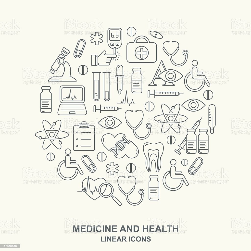 Vector medicine and health design round shape pattern vector art illustration