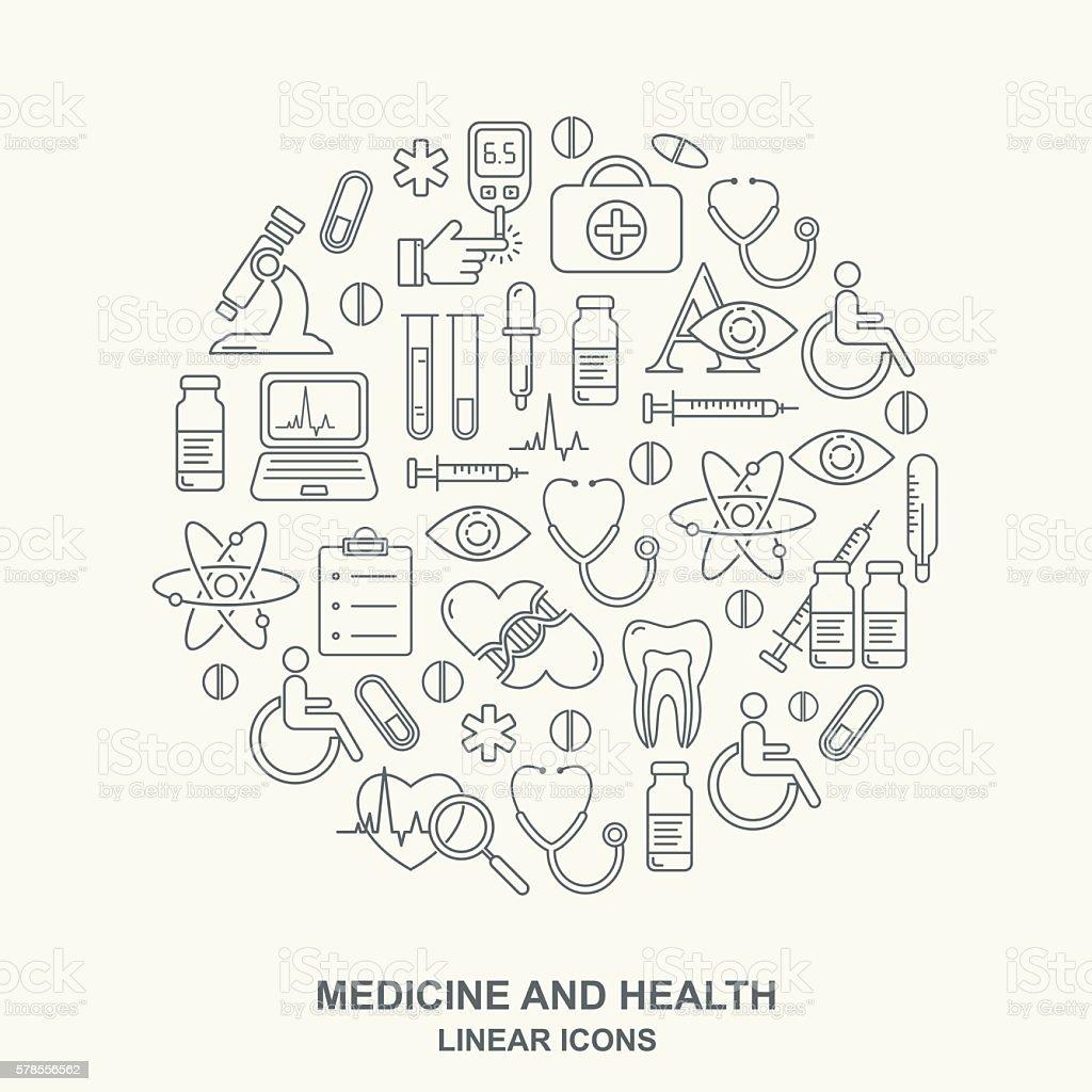 Vector medicine and health design round shape pattern vector art illustration