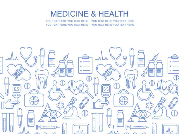 Vektor-Medizin und Gesundheit design nahtloses Muster mit modernen linearen Ikonen. Medizinischer Hintergrund enthält Liniensymbole Stil. – Vektorgrafik