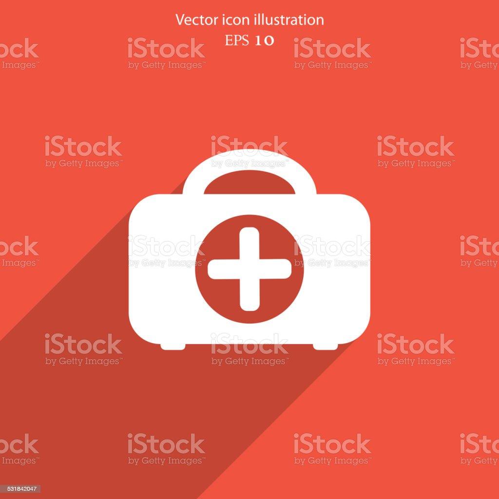 Vector medicine case flat icon. vector art illustration