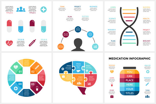 Vector medicine infographic. Template for human brain diagram, healthcare graph, medicine doctor presentation, science chart. Hospitals concept with options, parts, steps. Puzzle jigsaw, plus sign, DNA, pills treatment vector art illustration