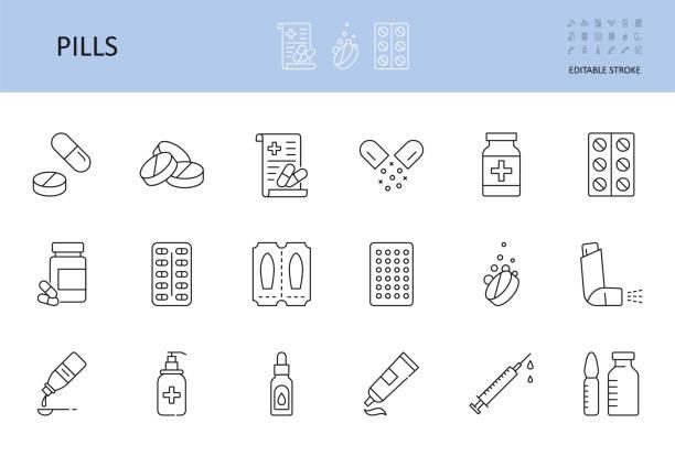 ikony tabletek medycyny wektorowej. edytowalne obrys. butelka tabletki na lek kapsułka, leczenie witaminy antyseptyczne czopki maści. środki antykoncepcyjne antybiotyk probiotyczne prebiotyczne strzykawki do wstrzykiwań - kapsułka stock illustrations