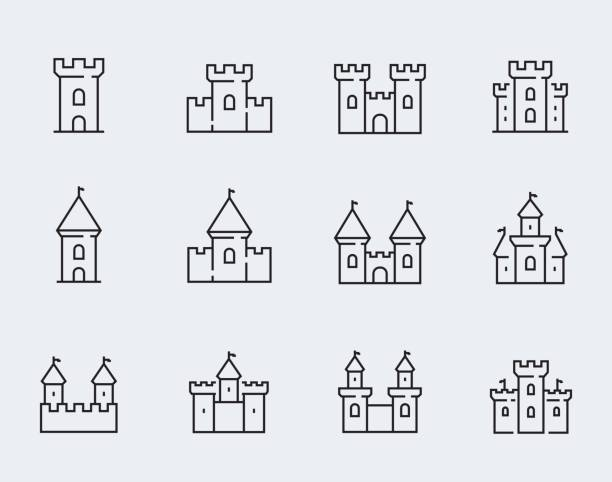 vector medieval castles icon set in thin line style - castle stock illustrations