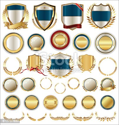 istock Vector medieval golden shields laurel wreaths and badges collection 612737880