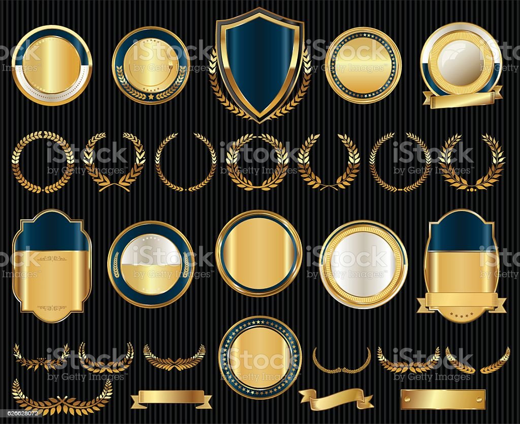 Vector medieval golden shields laurel wreaths and badges collection vector art illustration