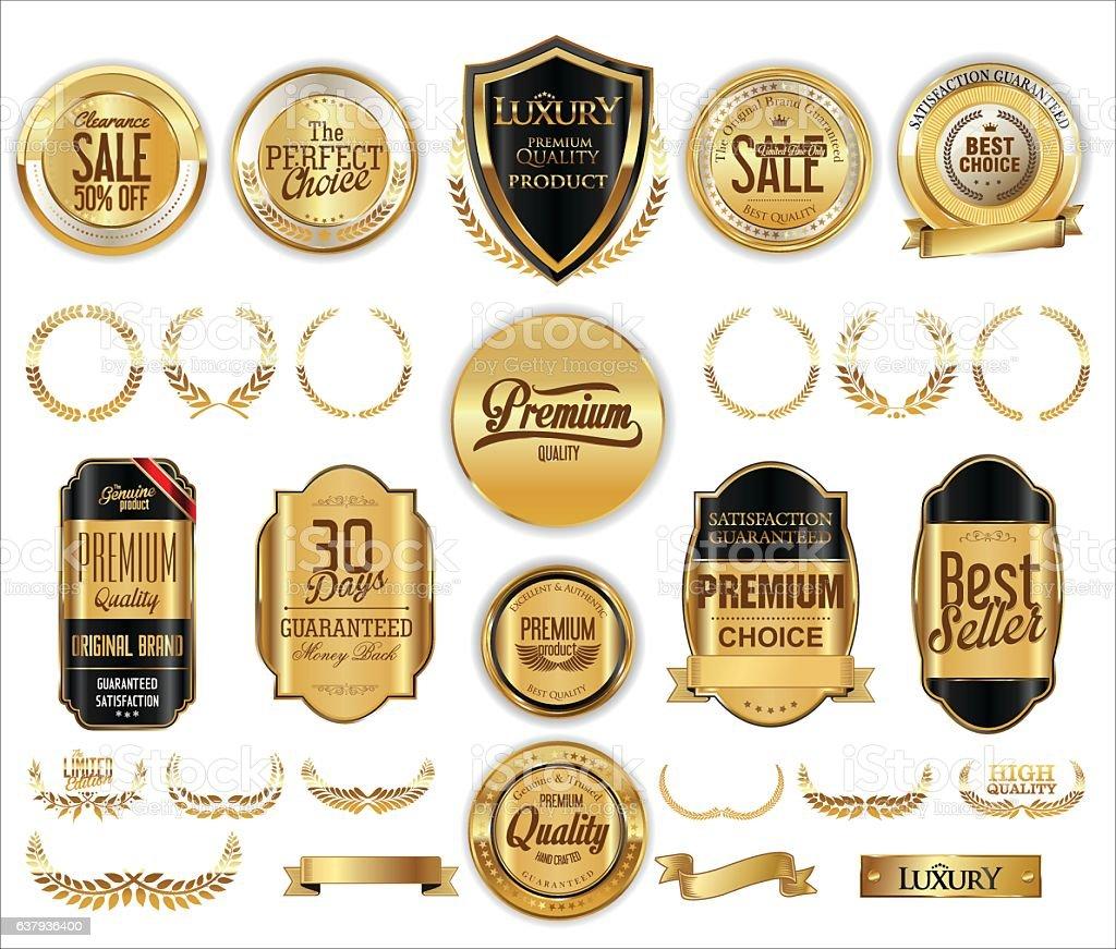 Vector medieval golden shields laurel wreaths and badges collection vector art illustration