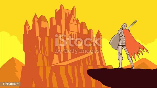 An illustration of a medieval knight standing on a cliff looking at a far away mountain-top castle. Wide space available for your copy.