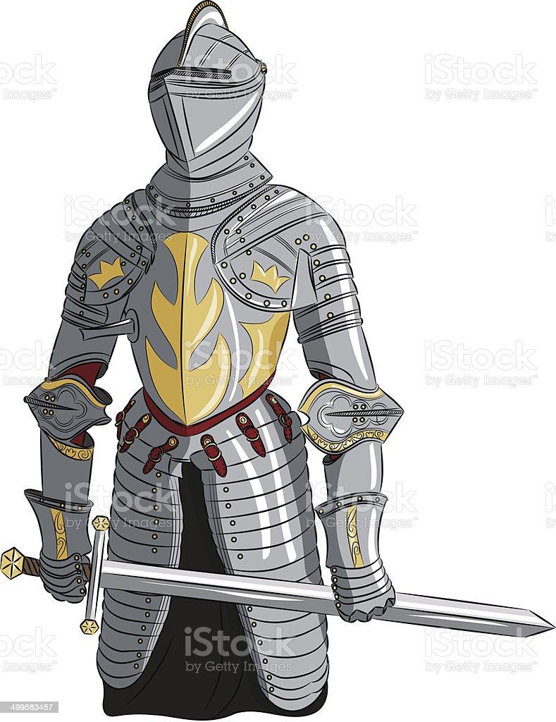 vector medieval knight with sword vector art illustration