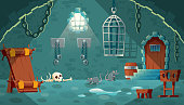 Vector concept illustration with medieval prison cell. Castle dungeon, room for prisoners, interior with iron shackles on stone walls, pillory, empty bunks and hanging cage. Cartoon game background