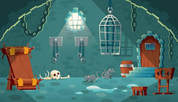 Vektor mittelalterliche Gefängniszelle, Spiel Hintergrund – Vektorgrafik