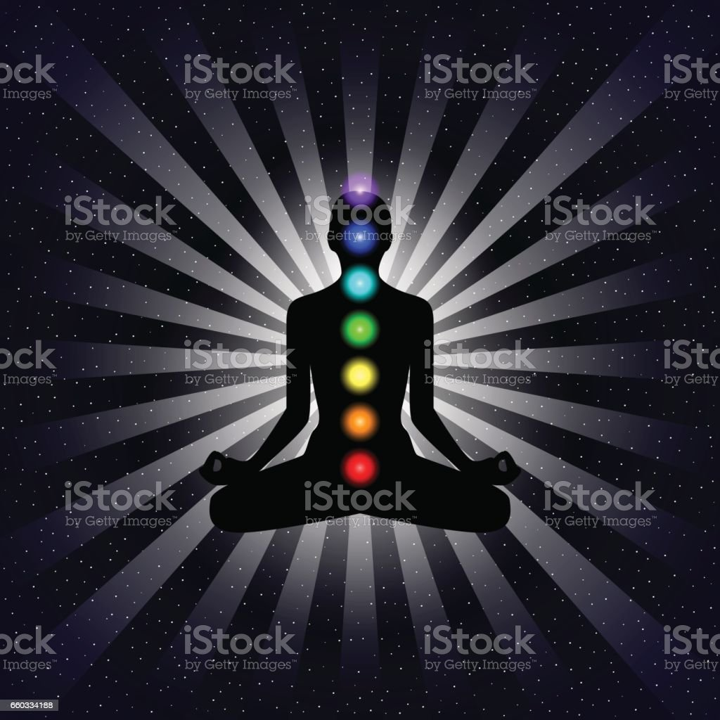 Vector meditation design concept. Silhouette in lotus position with seven chakras over night sky background. vector art illustration