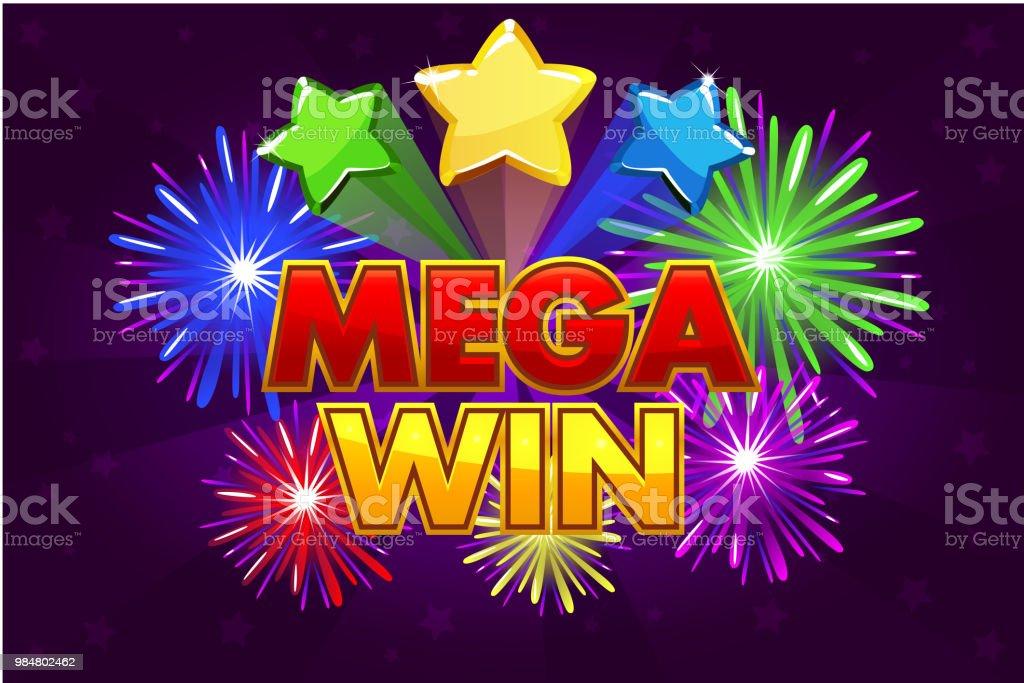 Banner para juegos de loteria o casino en Vector Mega gran victoria. - ilustración de arte vectorial