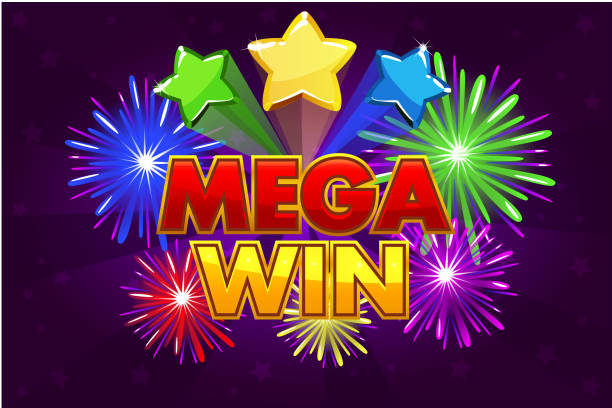Vector Mega big win banner for lottery or casino games. Vector Mega big win banner for lottery or casino games. Shooting colored stars and firework lottery stock illustrations