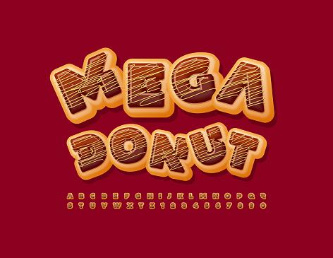 Vector Mega Chocolate Donut Font. Delicious style Alphabet