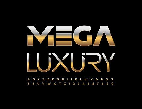 Vector Mega Luxury Alphabet set. Premium metallic Letters and Numbers