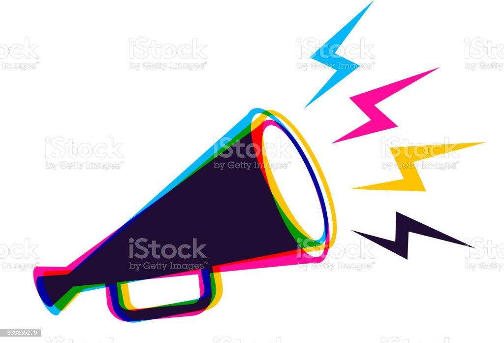 Vector megaphone in CMYK style. - ilustração de arte vetorial