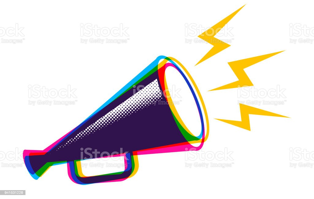 Vector megaphone in CMYK style. royalty-free vector megaphone in cmyk style stock illustration - download image now