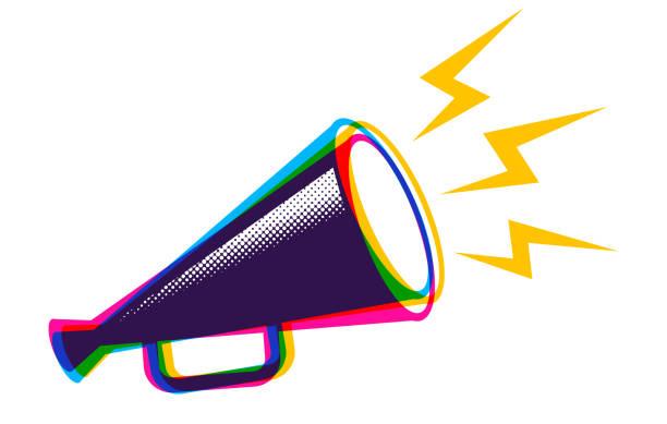 Vector megaphone in CMYK style. Vector vintage poster with retro megaphone in CMYK colors. Vector megaphone in CMYK style. communication stock illustrations