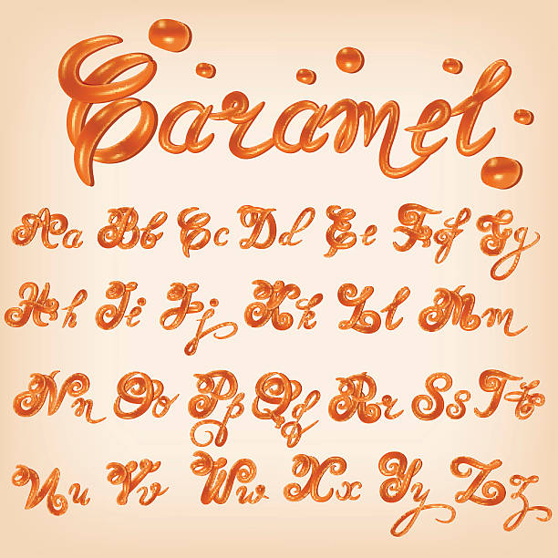 Vector melted caramel, candies,square,toffee, sauce alphabet. Vector melted caramel, candies,square,toffee, sauce alphabet. Shiny, glazed letters, liquid. Font style. Glossy typescript design. caramel stock illustrations