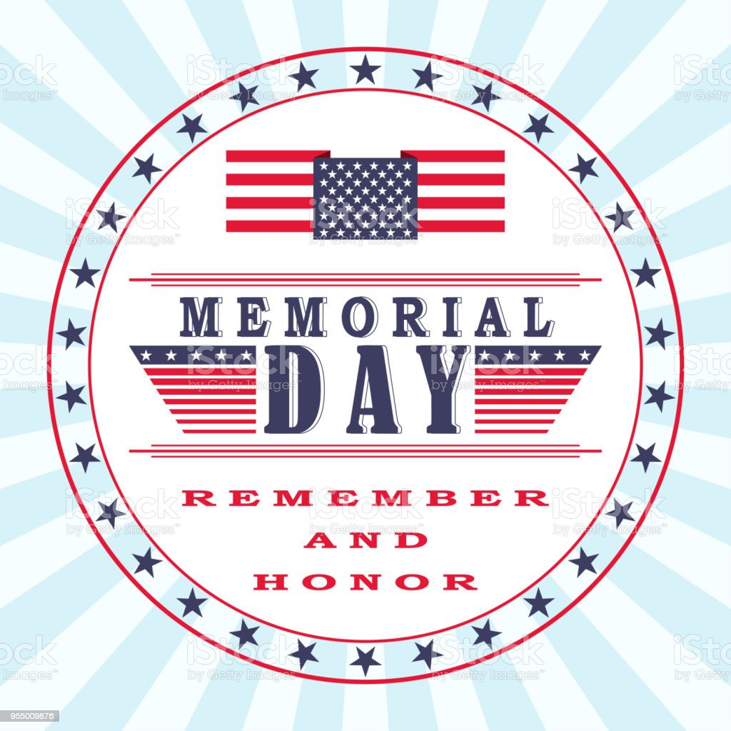 vector memorial day background with stars us flag and lettering
