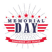 Memorial Day banner with stars, stripes and ribbon. Template for Memorial Day. Isolated on white. Vector illustration.
