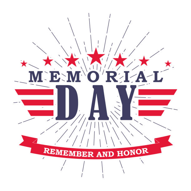 vector memorial day banner with stars, stripes and ribbon. template for memorial day. isolated on white. - memorial day stock illustrations
