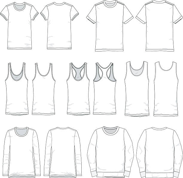 Vector Men and Women tee templates Tee templates for both men and women in various types of sleeves, front and back views. tank top stock illustrations