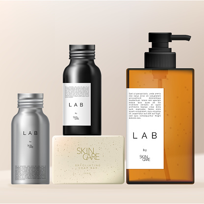 Vector Men Beauty or Health Care Packaging Set with Pump Bottle, Tin Bottle and Body Scrub Soap.
