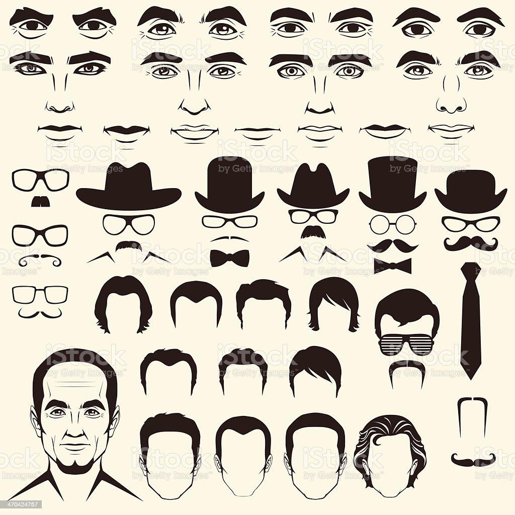Vektor-Männer Kopf Zeichen – Vektorgrafik